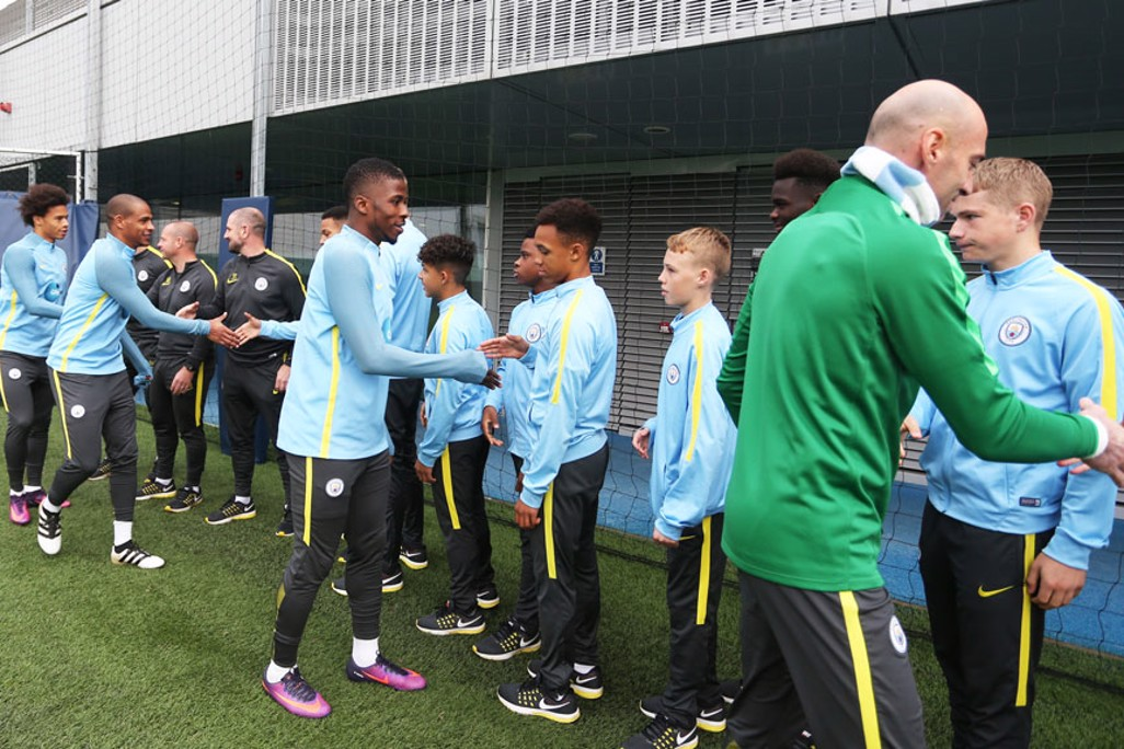 HAND SHAKE: The U15 team got a special surprise today