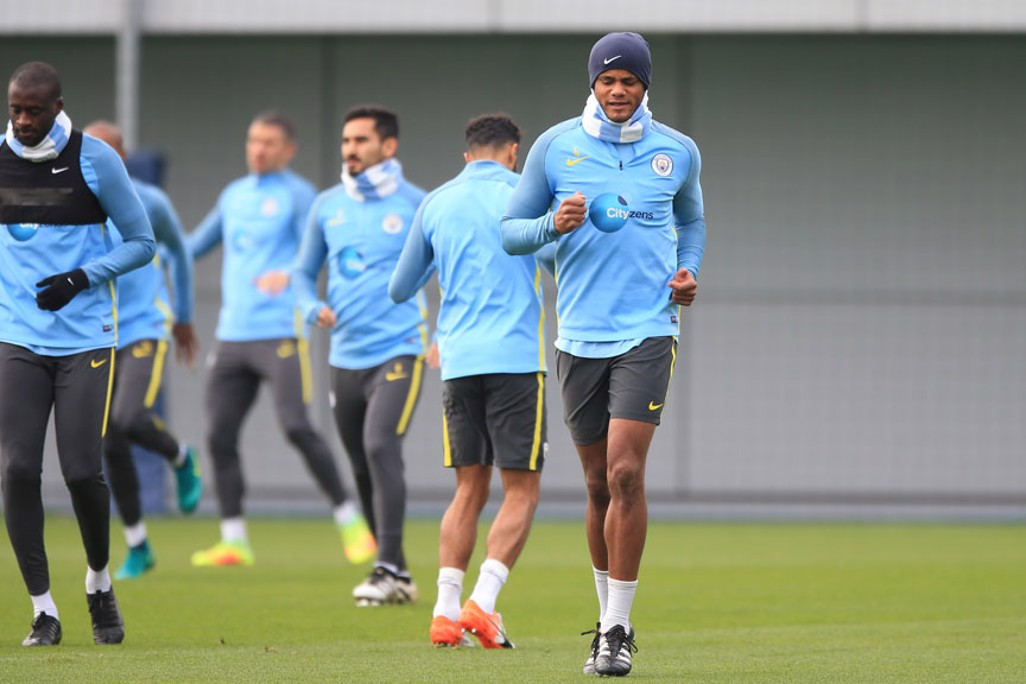 CAPTAIN: Vincent Kompany warms up during practice