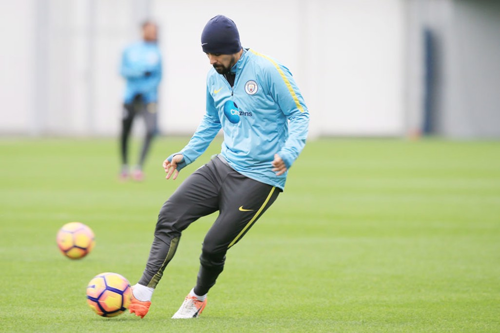 NOLITO: City's Spanish winger is wrapped up warm