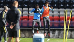 UP WE GO: Kelechi Iheanacho and Leroy Sane get some air time