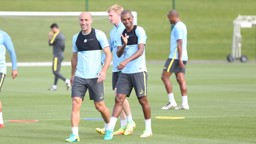 JOKERS: Pablo Zabaleta and Fernandinho smile for the camera