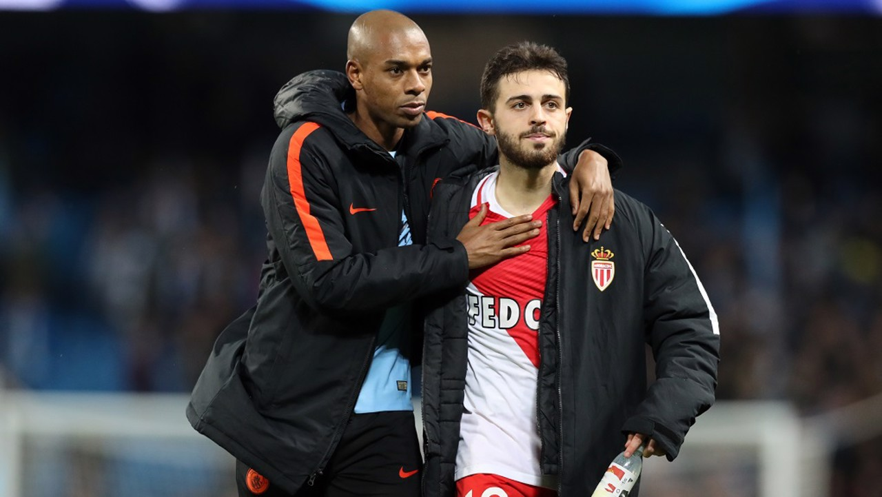 Fernandinho has some consoling words for Bernardo after Monaco's 5-3 Etihad defeat