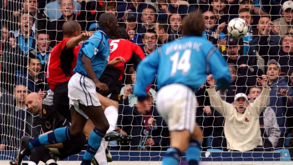DREAM DAY: Goater puts in his second in City's 3-1 win over United at Maine Road