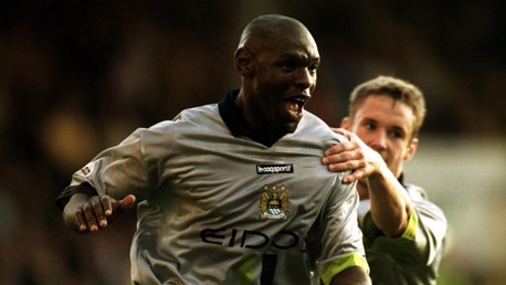 SILVER SURFER: Goater models one of City's most recognisable kits of the era
