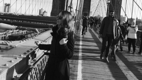 BROOKLYN BRIDGE: Asllani spends some time in NYC, watching the views.