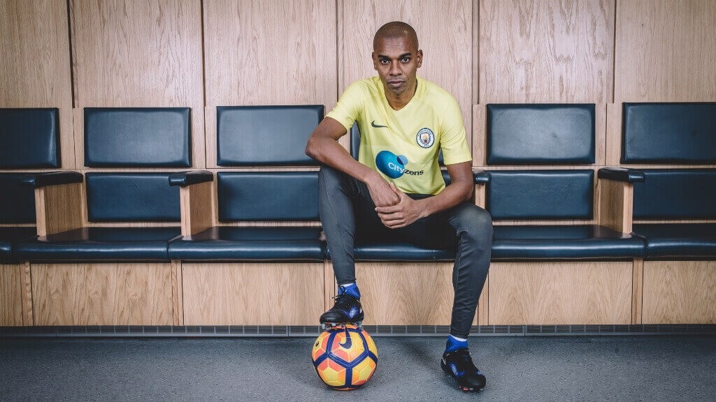 'SUITED' AND BOOTED: Fernandinho readies himself for a first session in the new attire.