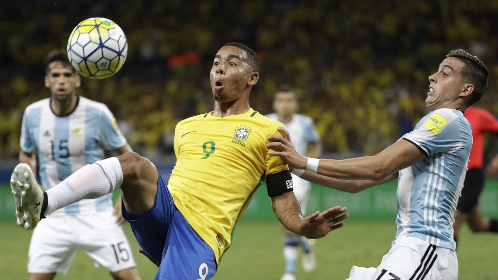 IN CONTROL: Gabriel Jesus in action for Brazil against Argentina
