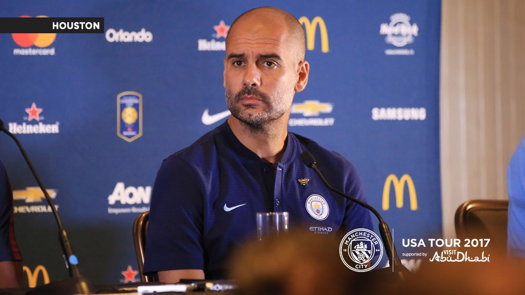 PEP TALKS: The boss delivered his first press conference of the US tour in Houston ahead of the Manchester United game.