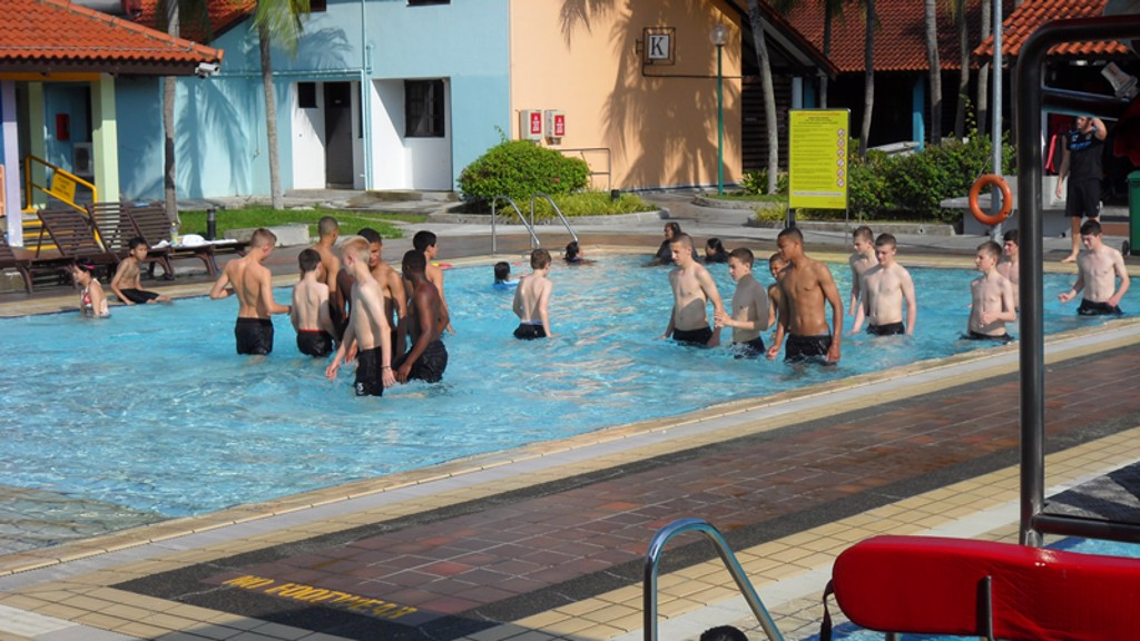 the boys started the day with some stretches in the hotel pool