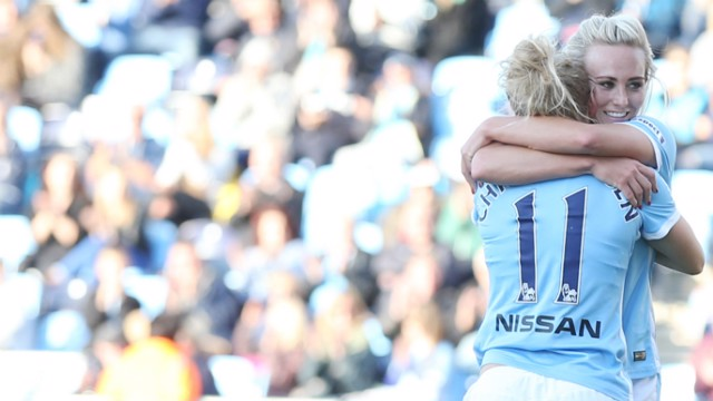 Toni Duggan and Isobel Christiansen celebrate