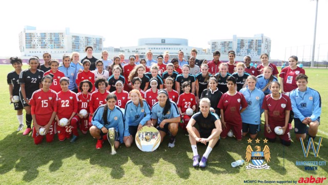 Group shot with MCWFC, Melbourne City Women and the UAE under-14 women