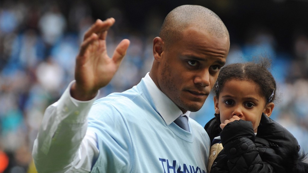 The captain with his daughter on the Etihad pitch