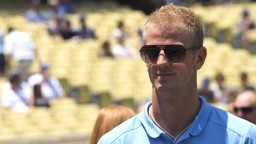 Manchester City's Joe Hart at Dodger Stadium, home of the LA Dodgers