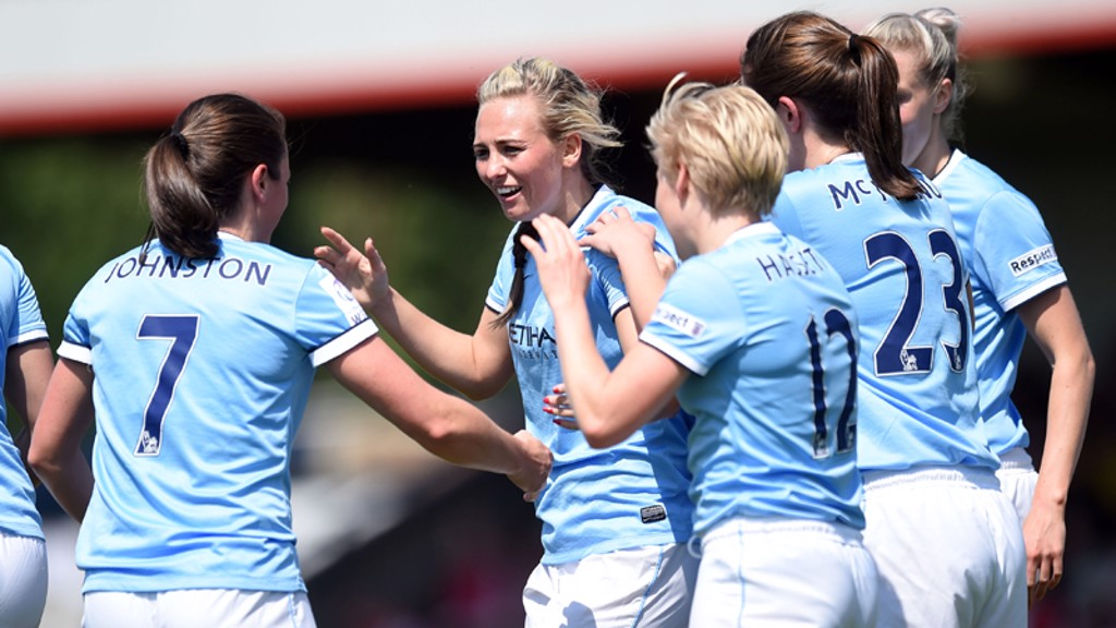 Duggan celebrates her goal against Arsenal
