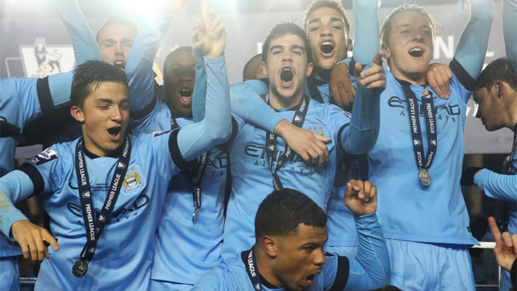 Manchester City's Elite Development Squad celebrate their International Premier League Cup win