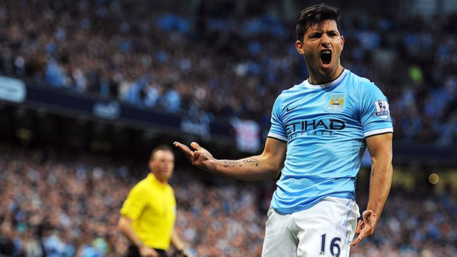 Sergio Aguero celebrating goal PA-17362637