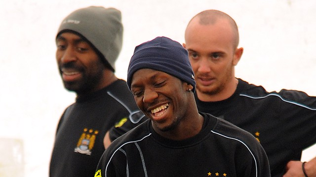 Darius Vassell, Shaun Wright Phillips and Stephen Ireland training 0809