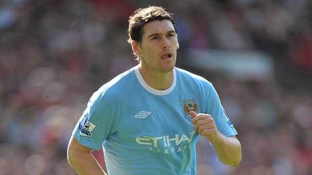 Gareth Barry in action at Old Trafford
