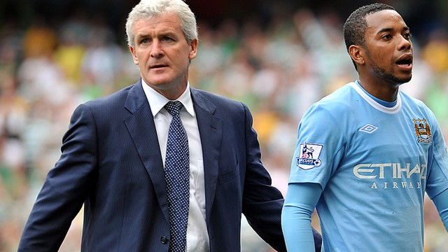 Robinho and Mark Hughes substituion against Celtic