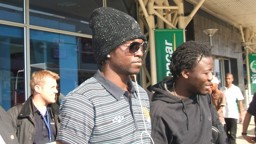 Emmanuel Adebayor arrives at Durban