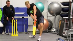 joe hart playing cricket in the gym