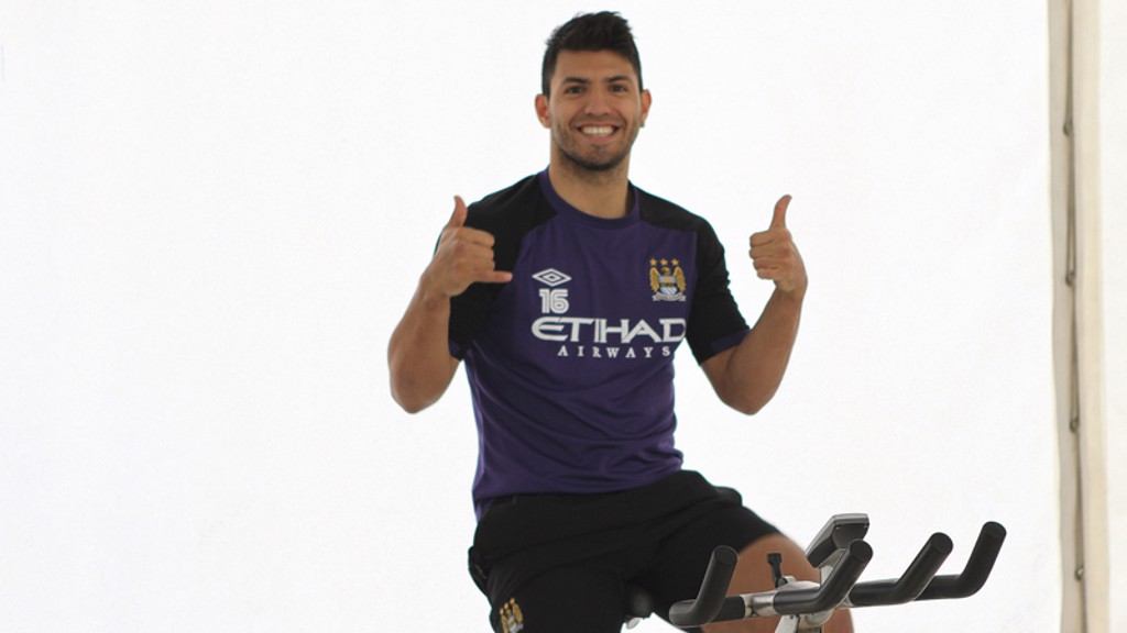 Sergio seems happy with his morning's work - but then he's always happy...