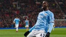 Yaya Toure celebrates his fourth goal in two games