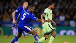 STERLING WORK: Raheem in action against Leicester last seson