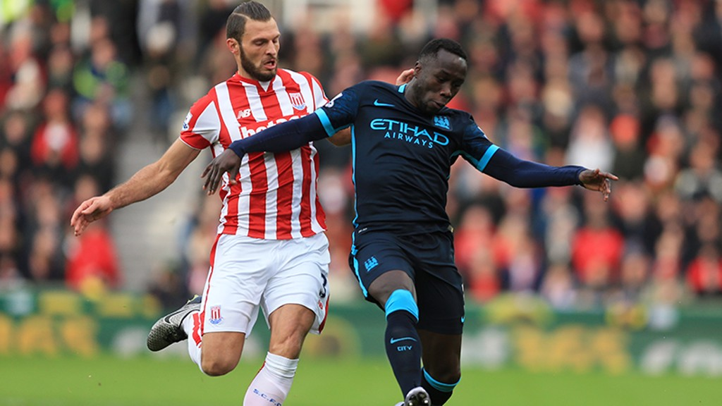 LAST TIME: Bacary Sagna in action on our last trip to Stoke.