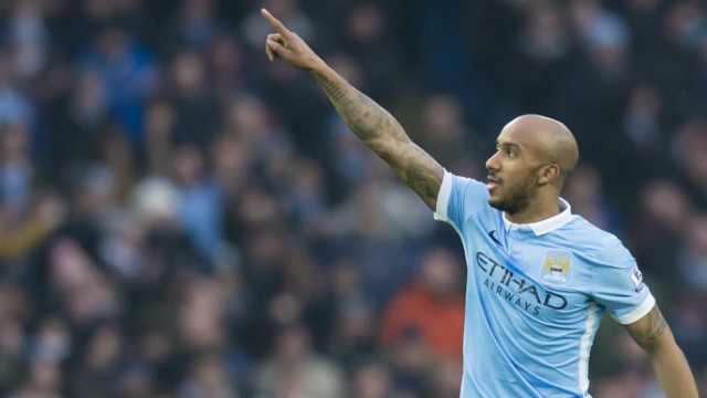 Fabian Delph celebrates scoring against Crystal Palace