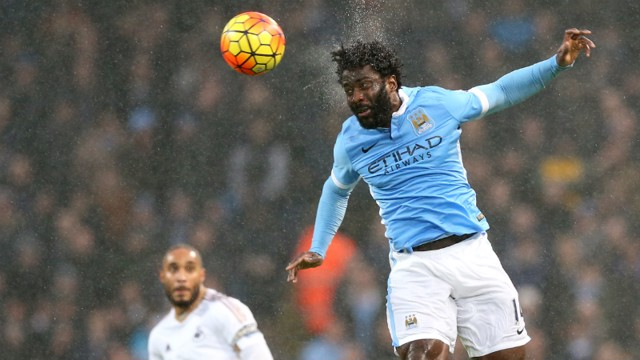 Wilfried Bony leaps to head the ball