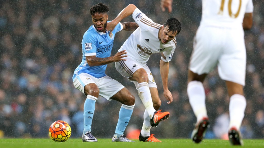 Raheem Sterling and Jack Cork duel for possession