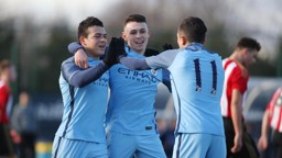 JOY: Lorenzo Gonzalez, Phil Foden and Ian Poveda celebrate the opener