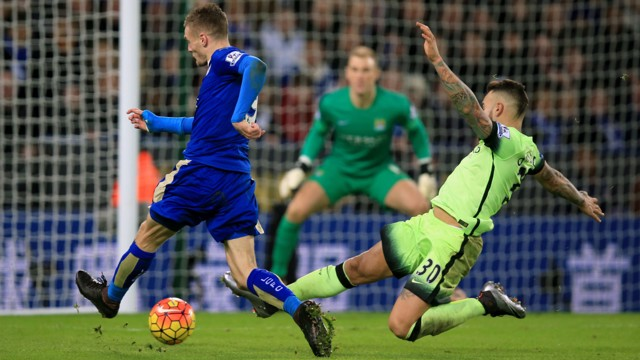 FULL STRETCH: Nicolas Otamendi goes in on Jamie Vardy