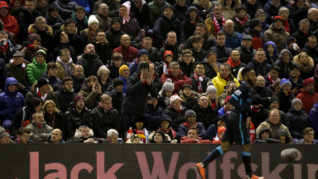 TOUGH CROWD: Raheem Sterling at Anfield