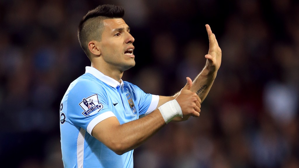 THUMBS UP: Sergio Aguero giving instructions