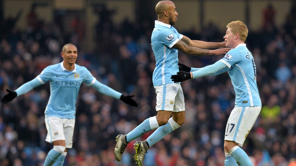 DELPH FROM DISTANCE: Fabian jumps in celebration at his opener