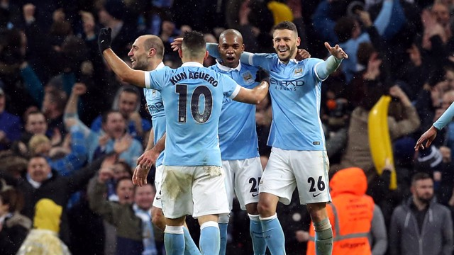 MCFC players celebrating