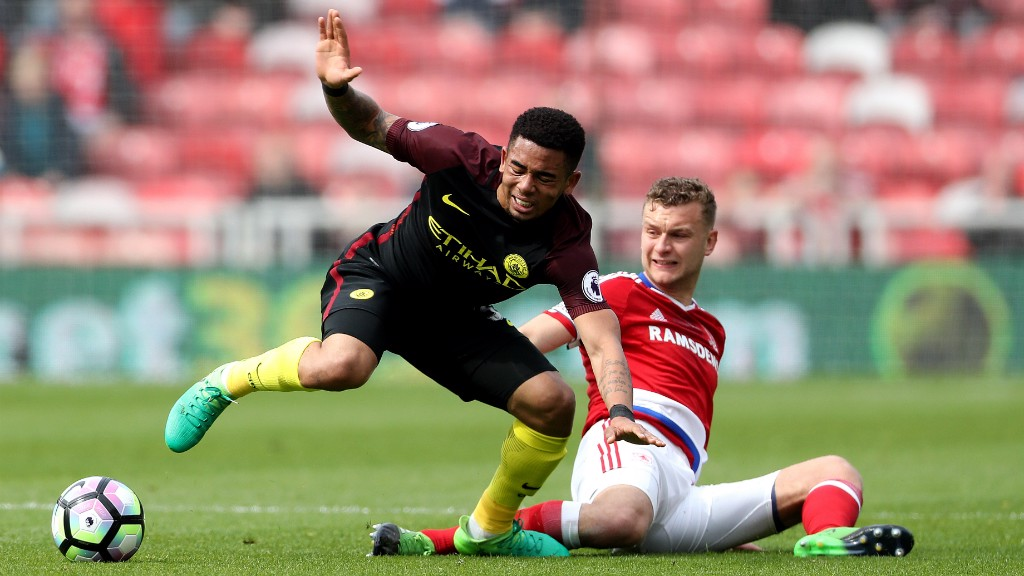 EARLY IMPACT:  Boro's Ben Gibson making his prescence felt against Gabriel Jesus.