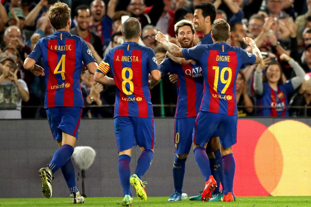 BARCA DELIGHT: The hosts' celebrate