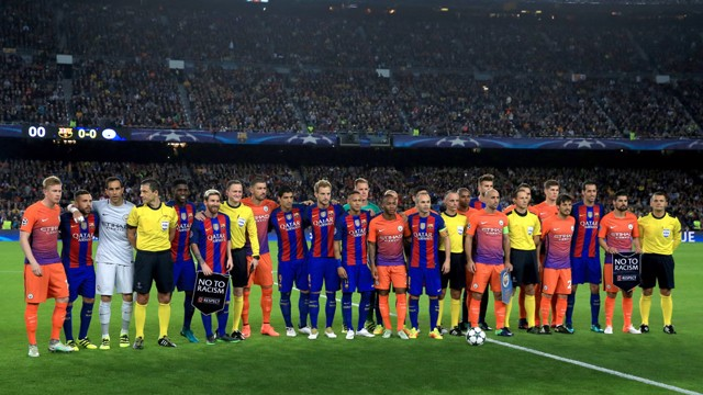 TEAM SPIRIT:  The players line up before the game