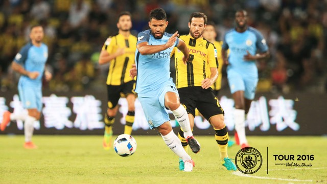 HE'S BACK: Sergio made his first appearance of the summer for City and marked it with a goal.