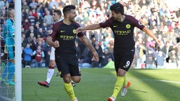 LEVELLER: Aguero is congratulated by Nolito