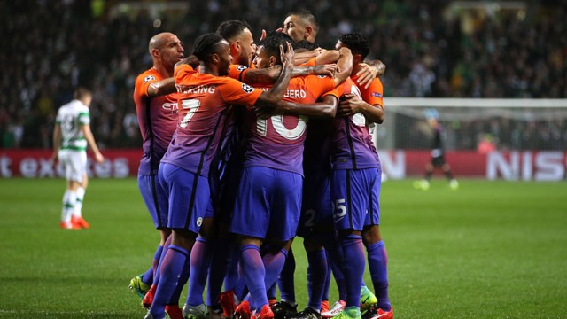 TEAM: Manchester City's Fernandinho celebrates his goal with teammates
