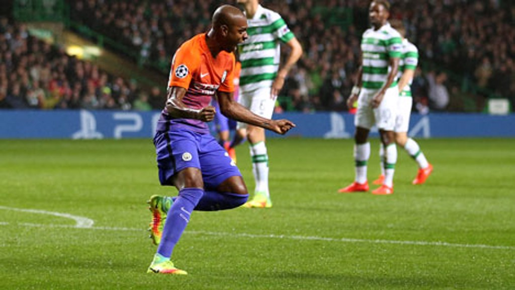 CELEBRATION: Manchester City's Fernandinho scores to make it 1-1