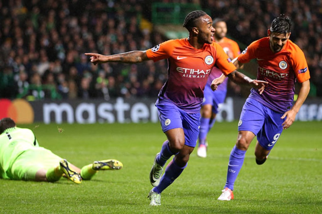 SECOND GOAL: Manchester City's Raheem Sterling celebrates scoring his side's second goal
