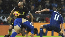 TUSSLE: Pablo Zabaleta, Shinji Okazaki and Marc Albrighton do battle