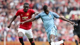 ON TARGET: Kelechi Iheanacho escapes the attentions of Eric Bailly