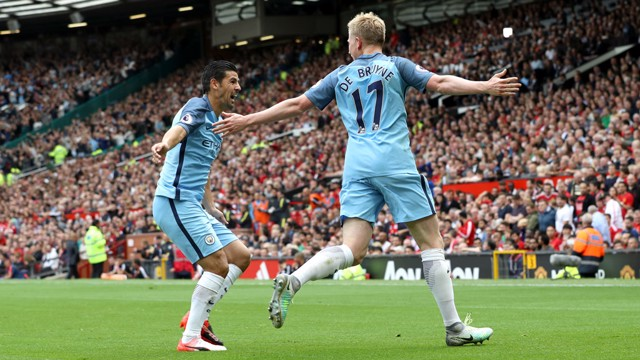 WHAT A FEELING: Nolito celebrates with De Bruyne