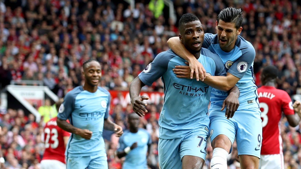 KELECHI IHEANACHO: Nolito celebrates with our goal scorer